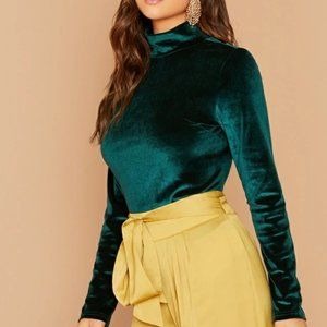 Tops - Green Solid Velvet Top in S and XL